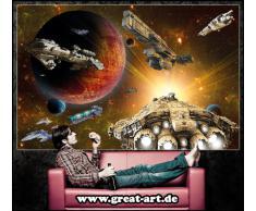 Astronave nell'universo FOTOMURALE- nave spaziale galassia quadro - XXL decorazione da parete cameretta dei bambini -tappezzeria da parete 336 cm x 238 cm