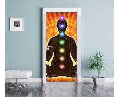 La meditazione con l'arte effetto matita 7 chakra come Murale, Formato: 200x90cm, telaio della porta, adesivi porta, porta decorazione, autoadesivi del portello