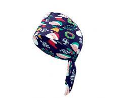Cappellino da lavoro da donna con bottone e fascia antisudore Cappelli stampati copritesta regolabile cravatta posteriore cappello copricapo per uomo carino Natale Babbo Natale Spirito