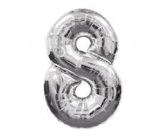 Decorazione di Nozze In Alluminio Foil Film Grande Tinta Digitale Numeri Palloncini Gonfiabili per Feste di Compleanno Decorazione per la Festa di Nozze d'argento a Cifre 8
