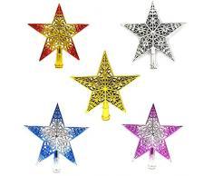 Itemer 20 cm puntale per albero di Natale a forma di stella, design unico di Natale Decorazioni ornamenti 20 cm Bule