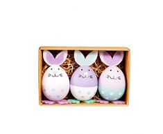 Dandeliondeme - Set di 3 Uova Colorate a Forma di Coniglio, Ideali Come Regalo per la Caccia di Pasqua, Ornamenti da Appendere per Bambini, Motivo: Gallina Multi