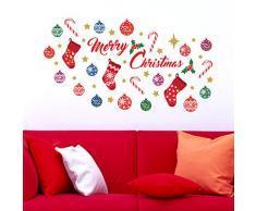 Wallflexi Decorazioni di Natale Adesivi murali Merry Christmas Decorazione Set Adesivi Murali Soggiorno Bambini Scuola Materna Ristorante Hotel casa, Multicolore