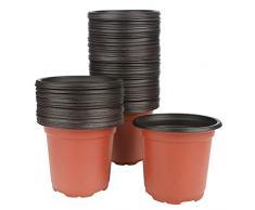 G2PLUS, 100 vasi di plastica per piante, fiori e per la semina, di 10 cm di diametro, perfetti per il giardinaggio