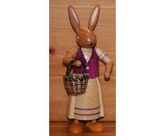 Coniglietto di pasqua femminile, condizione, porpora, 24 montagne del minerale metallifero della decorazione di Pasqua del coniglietto di cm Seiffen pasqua NUOVE