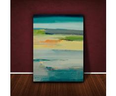Feel Good Art VJ-TRANQUILITY1216-15TEALIT Tramonto Azur Quadro da Galleria su Tela, Dipinto Astratto Originale, Artista Val Johnson, Multicolore, 40 x 30 x 4cm