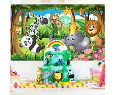 Decorazioni per Feste a Tema Jungle, Poster per Festa di Compleanno in Tessuto per Forniture per Feste a Tema Jungle, Banner sullo Sfondo di Jungle Safari, Insegna del Fondo del Contesto