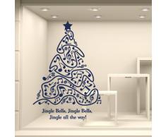 NT0332 Adesivi Murali - Albero con canzone - Vetrofanie natalizie - Misure 65x95 cm - oro - Vetrine negozi per Natale, stickers, adesivi