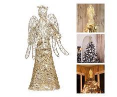 Amosfun Natale 3D Angelo Natale albero albero ornamento (oro)