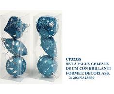 Idea Natale: Set 3 palle palline natalizie decorate con brillanti perline o foglie in forme e decori assortiti; per decorazione albero di natale; dimensione cm 8 (celeste)