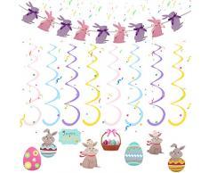 Babioms Banner con Coniglietto Pasquale,Uova di Pasqua, Colorate Decorazioni Pasquali,Decorazioni a Spirale di Pasquali, per la Decorazione e Regali del Partito di Pasqua