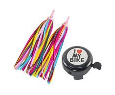 FBBULES 1PCS Min Campanello per Bicicletta e 2 PCS e Bici Manubrio Stelle Filanti per Bambini Bicicletta Accessori