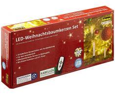 Idena - Candele a LED senza fili per albero di Natale bianco caldo, altezza candele 10 cm