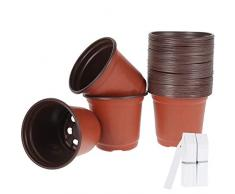 50PCS Vasi da Vivaio per Piante 10cm Vasetti di Plastica da Fiori con 100PCS Etichette per Piante o Semine in Interni e Esterni