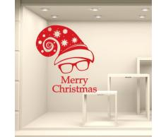NT0303 Adesivi Murali Vetrofanie natalizie - Cappuccio Merry Christmas - Misure 80x100 cm - rosso - Vetrine negozi per Natale, stickers, adesivi