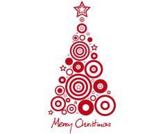 NT0032 Adesivi Murali - Albero di natale optical - Vetrofanie natalizie - 80x120 cm - Rosso - Decorazioni vetrine per Natale, stickers, adesivi