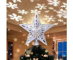 Puntale per Albero di Natale, Stella Superiore dellalbero di Natale con Effetto di Proiezione di Luce Dinamica del Fiocco di Neve, Topper per Albero di Natale, Stelle Albero di Natale (24cm)