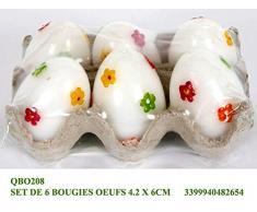 Idea Pasqua: confezione 6 uova pasquali decorate; oggetto decorativo
