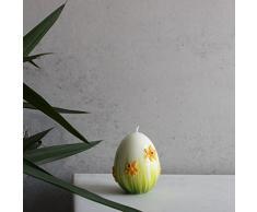 Piccolo Deko uovo 90 X 70 mm Bianco Verde uovo di Pasqua candela