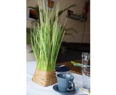 Pianta artificiale Ciuffo d' erba verde/giallo nel cestino 45 cm