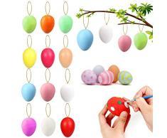 XUNKE Uova di Pasqua Decorazioni, 12 Pezzi Uova Pasquali da Appendere, Uova Pasquali Colorate con La Corda, Pittura di Artigianato Fai da Te di Pasqua per La Decorazione e Regalo