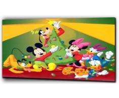 """Disney Mickey Mouse in tela, con stampa natalizia, come nell'immagine, 16"""" x 20"""""""