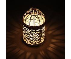 westeng ferro Hollow candeliere Birdcage metallo tealight Torce Casamiento creative Birdcage Decorazione Della Tavola 1pcs bianco