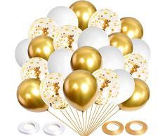 MIHUA Palloncini Oro,Palloncini Compleanno, Set di 60 Palloncini Inclusi Palloncini Metallici Dorati, Palloncini coriandoli, Palloncini Bianchi e 4 Nastri. Adatto peraddobbi Compleanno, Matrimoni