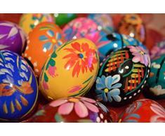 Wooden World Set di legno uova di Pasqua – dipinto a mano – Decorazione – 60 x 45 mm – le dimensioni della gallina – ideale per Pasqua, Natural, 65x45mm