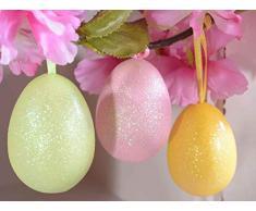 Confezione 60 uova Pasquali colorate con glitter decorazione per casa e negozi