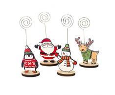 LIOOBO 16pz Tavola di Natale Segnaposto Cartone Animato Numero di Tabella Numero di Menu Carta Meno Clip per Appunti Stand con Base per Banchetti di Nozze per Le Vacanze