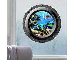 Skyllc® Finestra rotonda 3D Paesaggio marino corallo sul mare Decoration Sticker PVC