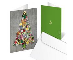 Set di 10 biglietti di auguri natalizi, pieghevoli, in grigio/rosso/verde con albero di Natale colorato, stile shabby chic, 10,5 x 14,8 cm da chiusi, con busta inclusa