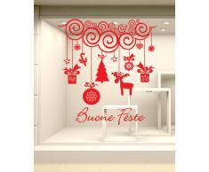 NT0209 Adesivi Murali - Festone con pendenti - Vetrofanie natalizie - 100x100 cm - Rosso - Decorazioni vetrine per Natale, stickers, adesivi