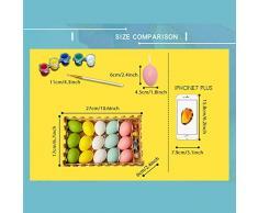 FOONEE 15pcs Plastica Uova di Pasqua Pittura Fai da Te Giocattoli per Bambini, Uova Colorate Ornamenti Appesi Decorazione del Partito di Pasqua