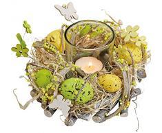matches21 Pasqua Corona Decorativa Pasqua Uova di Pasqua Candela in Vetro Primavera Decorazione Pasquale Giallo/Verde 1 Pezzo Ø 16 x 9 cm