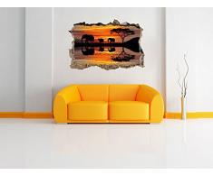 Africa Elefante in sole nero / bianco muro passo avanti nel look 3D, parete o in formato adesivo porta: 62x42cm, autoadesivi della parete, autoadesivo della parete, decorazione della parete