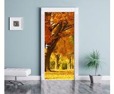 bellissimo paesaggio autunnale come Murale, Formato: 200x90cm, telaio della porta, adesivi porta, porta decorazione, autoadesivi del portello