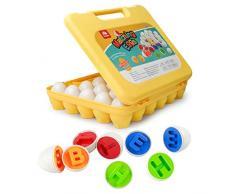 Coogam Lettere Uova corrispondenti 26 PZ ABC Alfabeto Riconoscimento dei Colori Sorter Puzzle Gioco di Viaggio di Pasqua Maiuscolo Educativo Abilità motoria Montessori Regalo per Il Bambino