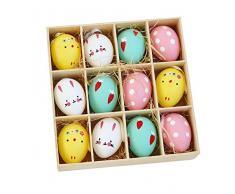 MFHYSJ 12pcs di plastica Decorazioni di Pasqua Uova Colorate Simulazione Uova di Dinosauro Bambini Fai da Te Dipinto Uova Giocattoli Ciondolo per i Regali dei Bambini
