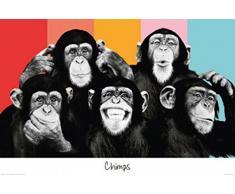 "1art1 60452 - Poster ""gruppo di scimmie colorate"", 91 x 61 cm"