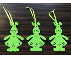 3 X 10 x 7 cm Lepre Coniglio Deko Primavera Primavera Hase regali pasquali Pasqua Maestro lampada coniglietto Easter Bunny Coniglio decorativo feltro, verde
