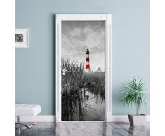 Bodie Islanda Faro in North Carolina nero / bianco murale, Formato: 200x90cm, telaio della porta, adesivi porta, porta decorazione, autoadesivi del portello