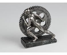 Moderno e stravagante decorazione scultura in poliresina nero/argento altezza 21 cm
