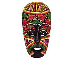 BALI PAPAYA - Maschera etnica in legno, statua decorativa africana tribale, Totem Aborigeno, Africa, 20 cm, dipinta