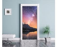 Tende tra le migliaia di stelle Art effetto pastello come Murale, Formato: 200x90cm, telaio della porta, adesivi porta, porta decorazione, autoadesivi del portello