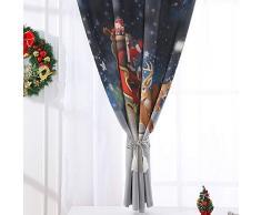 Harpily Tenda Natalizia Tulle Arreda Mentoazioni di Finestre Natale in Voile Tende a Pannello per Interni con Babbo Natale Modello Tessuto