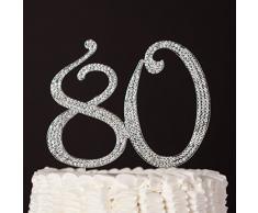 Numero 80 Decorazione topper argento per il 80 esimo anniversario ottimo per compleanni o feste di anniversario con strass e brillantini.