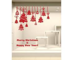 NT0215 Adesivi Murali - Decorazione Alberelli - Vetrofanie natalizie - 120x105 cm - Rosso - Decorazioni vetrine per Natale, stickers, adesivi