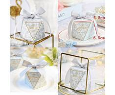 JZK 50 Forma Diamante Grigio Scatola portaconfetti scatolina portariso bomboniera segnaposto per Matrimonio Compleanno Battesimo Natale Laurea Nascita Comunione
